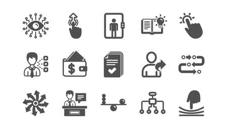 Artificial intelligence, Balance and Refer friend icons. Timeline path, Cash wallet. Classic icon set. Quality set. Vector