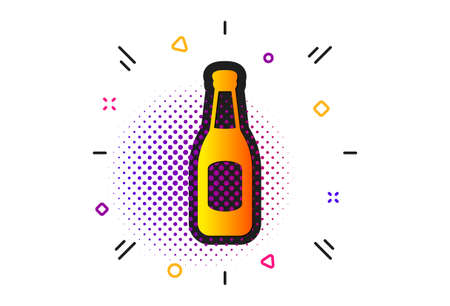 Pub Craft beer sign. Halftone circles pattern. Beer bottle icon. Brewery beverage symbol. Classic flat beer icon. Vector