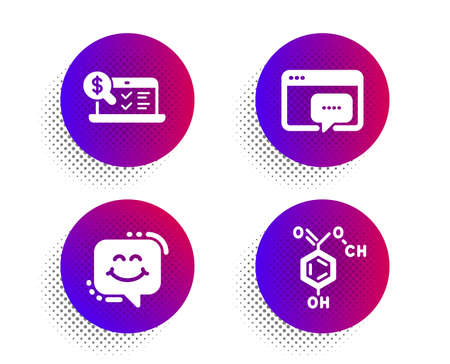 Online accounting, Smile chat and Seo message icons simple set. Halftone dots button. Chemical formula sign. Web audit, Happy face, Support chat. Chemistry. Technology set. Vector