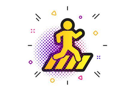 Crosswalk icon. Halftone dots pattern. Crossing street sign. Classic flat crosswalk icon. Vector Illusztráció