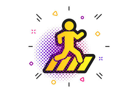 Crosswalk icon. Halftone dots pattern. Crossing street sign. Classic flat crosswalk icon. Vector Illustration