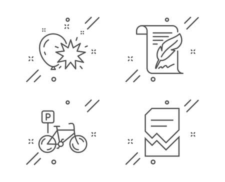Feather, Balloon dart and Bicycle parking line icons set. Corrupted file sign. Copyright page, Attraction park, Bike park. Damaged document. Business set. Line feather outline icon. Vector