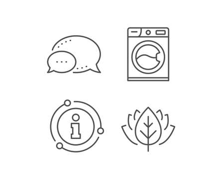 Washing machine line icon. Chat bubble, info sign elements. Cleaning service symbol. Laundry sign. Linear washing machine outline icon. Information bubble. Vector
