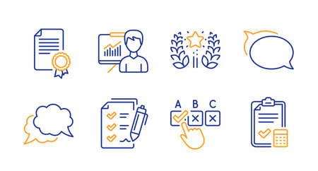 Certificate, Presentation and Ranking line icons set. Talk bubble, Survey checklist and Correct checkbox signs. Chat message, Accounting checklist symbols. Diploma, Education board. Vector Çizim