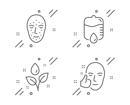 Drop counter, Face biometrics and Plants watering line icons set. Healthy face sign. Medical equipment, Facial recognition, Water drop. Healthy cosmetics. Healthcare set. Vector