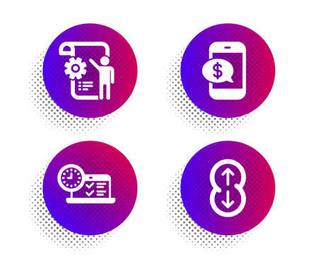 Phone payment, Settings blueprint and Online test icons simple set. Halftone dots button. Scroll down sign. Mobile pay, Engineering cogwheel, Examination. Swipe arrow. Technology set. Vector Stok Fotoğraf - 134644731