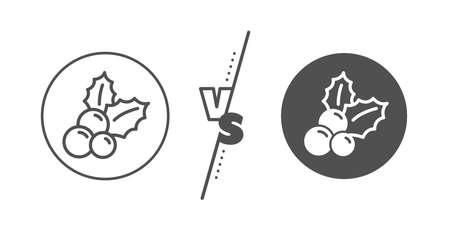Ilex aquifolium sign. Versus concept. Christmas holly line icon. Line vs classic christmas holly icon. Vector