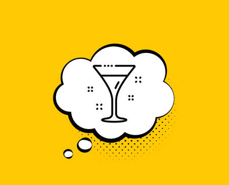 Cocktail glass line icon. Comic speech bubble. Martini drink sign. Hotel service symbol. Yellow background with chat bubble. Cocktail icon. Colorful banner. Vector