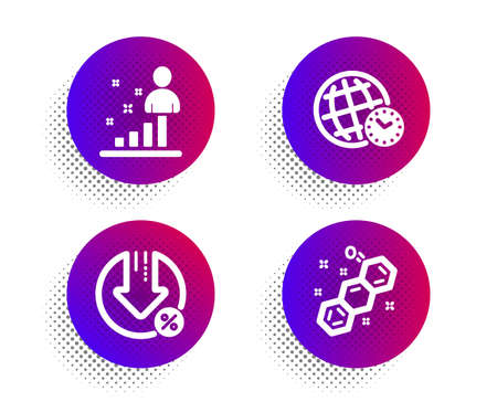 Stats, Loan percent and Time zone icons simple set. Halftone dots button. Chemical formula sign. Business analysis, Decrease rate, World clock. Chemistry. Technology set. Vector
