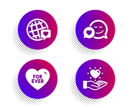 Dating, World brand and For ever icons simple set. Halftone dots button. Hold heart sign. Love messenger, Love. Love set. Classic flat dating icon. Vector