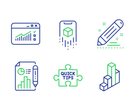 Web traffic, Report document and Augmented reality line icons set. Quick tips, Brand contract and 3d chart signs. Website window, Growth chart, Phone simulation. Tutorials. Science set. Vector