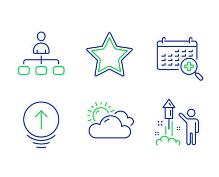 Sunny weather, Star and Swipe up line icons set. Medical calendar, Management and Fireworks signs. Summer, Best rank, Scrolling page. Doctor appointment. Science set. Vector Ilustração