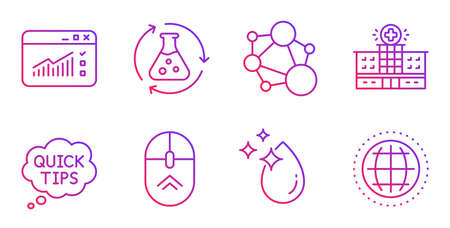 Chemistry experiment, Swipe up and Web traffic line icons set. Integrity, Quick tips and Hospital building signs. Water drop, Globe symbols. Laboratory flask, Scrolling page. Science set. Vector Illustration