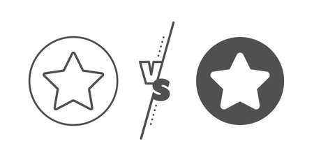 Best rank sign. Versus concept. Star line icon. Bookmark or Favorite symbol. Line vs classic star icon. Vector  イラスト・ベクター素材