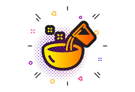 Bowl sign. Halftone circles pattern. Cooking add water icon. Food preparation symbol. Classic flat cooking water icon. Vector  イラスト・ベクター素材