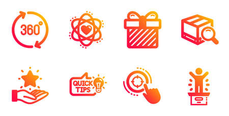 Education idea, Surprise and Atom line icons set. Search package, Loyalty program and 360 degrees signs. Seo target, Winner podium symbols. Quick tips, Present with bow. Business set. Vector Illustration