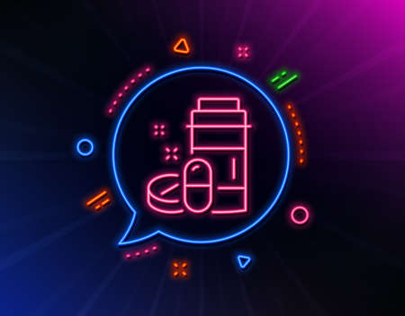Medical drugs bottle line icon. Neon laser lights. Medicine pills sign. Pharmacy medication symbol. Glow laser speech bubble. Neon lights chat bubble. Banner badge with medical drugs icon. Vector