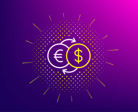 Money exchange line icon. Halftone pattern. Banking currency sign. Euro and Dollar Cash transfer symbol. Gradient background. Money exchange line icon. Yellow halftone pattern. Vector Foto de archivo - 135122707