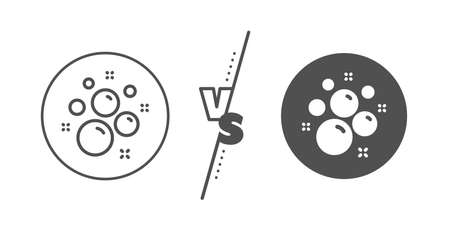 Laundry shampoo sign. Versus concept. Clean bubbles line icon. Clothing cleaner symbol. Line vs classic clean bubbles icon. Vector