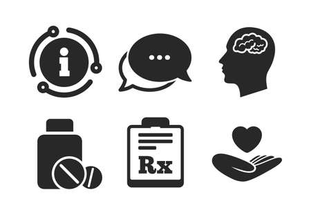 Medical tablets bottle, head with brain, prescription Rx signs. Chat, info sign. Medicine icons. Pharmacy or medicine symbol. Hand holds heart. Classic style speech bubble icon. Vector Illustration