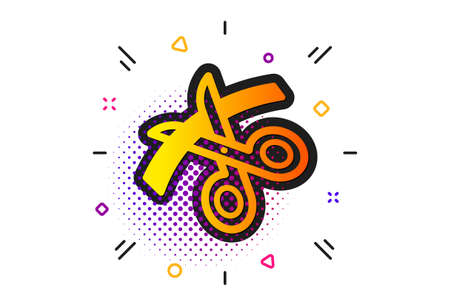 Cutting ribbon sign. Halftone circles pattern. Scissors icon. Tailor utensil symbol. Classic flat scissors icon. Vector  イラスト・ベクター素材