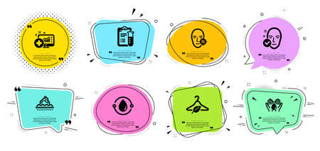 Health skin, Cold-pressed oil and Problem skin line icons set. Chat bubbles with quotes. Slow fashion, Medical analyzes and Medical analytics signs. Wash hands symbol. Vector