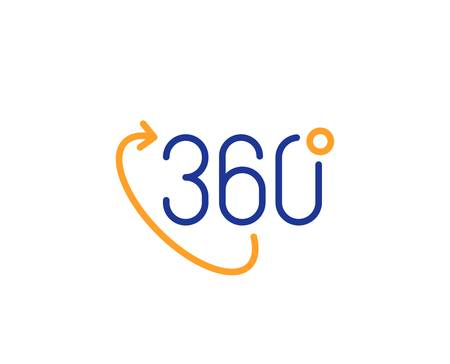 VR technology simulation sign. 360 degree line icon. Panoramic view symbol. Colorful outline concept. Blue and orange thin line 360 degree icon. Vector