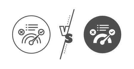 Accepted or confirmed sign. Versus concept. Correct answer line icon. Approved symbol. Line vs classic correct answer icon. Vector Illustration
