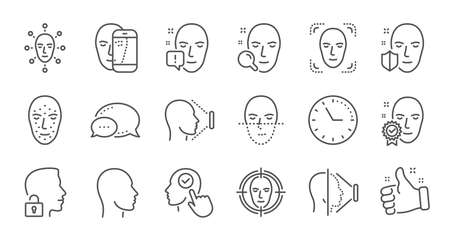 Face recognize line icons. Biometrics detection, Face id and scanning. Identification linear icon set. Quality line set. Vector 向量圖像