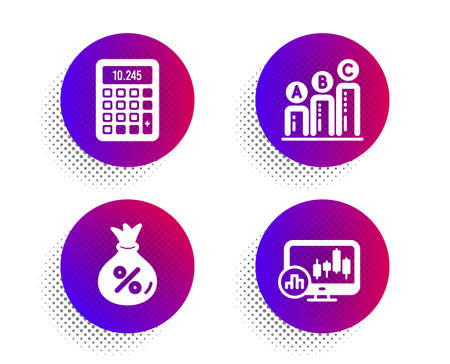 Loan, Graph chart and Calculator icons simple set. Halftone dots button. Candlestick chart sign. Money bag, Growth report, Accounting device. Report analysis. Finance set. Vector