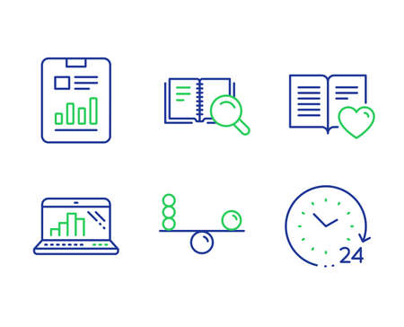 Search book, Balance and Love book line icons set. Graph laptop, Report document and 24 hours signs. Online education, Concentration, Customer feedback. Mobile report. Education set. Vector