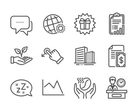 Set of Business icons, such as Helping hand, Coffee, Message, Surprise gift, Line chart, World weather, Payment, Sleep, Checklist, Buildings, Presentation time, Drag drop line icons. Vector