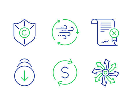 Reject certificate, Scroll down and Wind energy line icons set. Copyright protection, Dollar exchange and Versatile signs. Decline file, Swipe screen, Breeze power. Shield. Vector