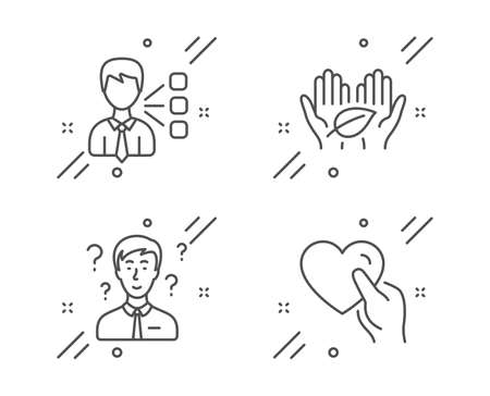 Third party, Fair trade and Support consultant line icons set. Hold heart sign. Team leader, Safe nature, Question mark. Friendship. People set. Line third party outline icon. Vector
