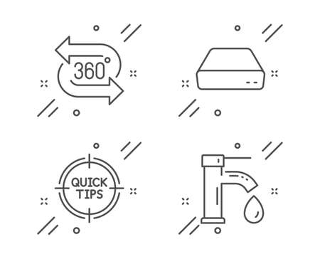 Mini pc, Tips and 360 degree line icons set. Tap water sign. Computer, Quick tricks, Virtual reality. Faucet. Technology set. Line mini pc outline icon. Vector