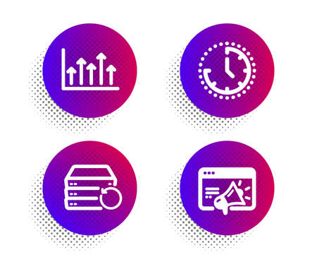 Recovery server, Growth chart and Time icons simple set. Halftone dots button. Seo marketing sign. Backup data, Upper arrows, Clock. Megaphone. Science set. Classic flat recovery server icon. Vector Illustration