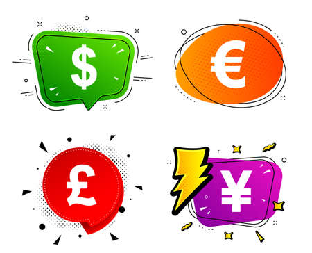 USD, EUR, GBP and JPY money sign symbols. Banner badges, various colors. Dollar, Euro, Pound and Yen currency icons. Chat bubble vector shape. Gradient banner. Price tag. Vector