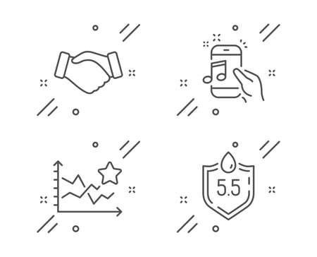 Music phone, Handshake and Ranking stars line icons set. Ph neutral sign. Radio sound, Deal hand, Winner results. Water. Business set. Line music phone outline icon. Vector