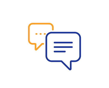 Chat comment sign. Dots message line icon. Speech bubble symbol. Colorful outline concept. Blue and orange thin line dots message icon. Vector