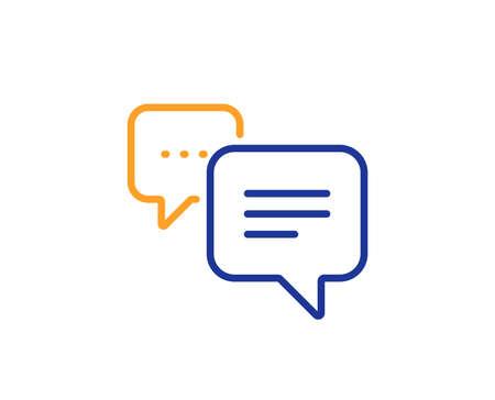 Signe de commentaire de chat. Icône de ligne de message de points. Symbole de bulle de discours. Concept de contour coloré. Icône de message de points de fine ligne bleu et orange. Vecteur