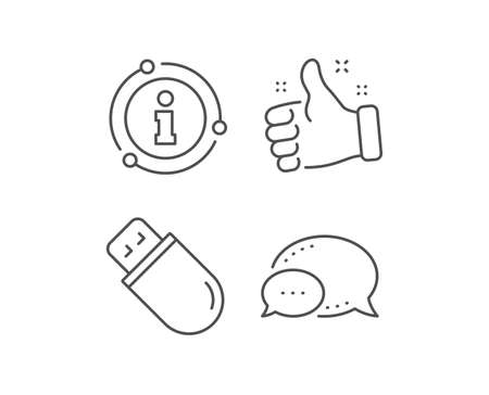 Usb stick line icon. Chat bubble, info sign elements. Computer memory component sign. Data storage symbol. Linear usb stick outline icon. Information bubble. Vector
