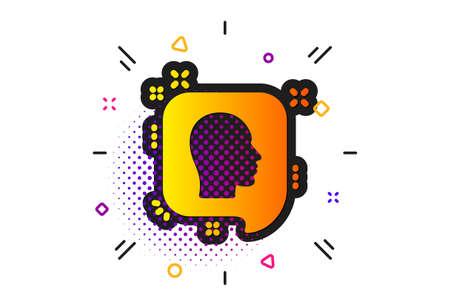 Human profile speech bubble sign. Halftone circles pattern. Head icon. Facial identification symbol. Classic flat head icon. Vector Ilustracja