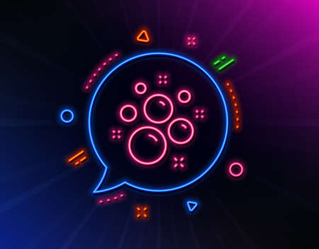 Clean bubbles line icon. Neon laser lights. Laundry shampoo sign. Clothing cleaner symbol. Glow laser speech bubble. Neon lights chat bubble. Banner badge with clean bubbles icon. Vector Ilustração