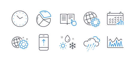 Set of Science icons, such as Pie chart, Weather, Calendar graph, Seo gear, Rainy weather, Swipe up, Read instruction, Time, Globe, Investment line icons. Presentation graph, Climate. Vector Ilustração