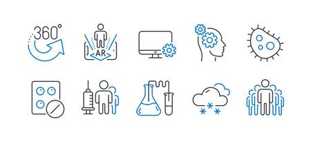 Set of Science icons, such as Monitor settings, 360 degrees, Augmented reality, Thoughts, Snow weather, Chemistry lab, Medical tablet, Medical vaccination, Bacteria, Group line icons. Vector Ilustracja