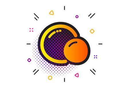 Tasty seed sign. Halftone circles pattern. Peas icon. Vegan food symbol. Classic flat peas icon. Vector Ilustração