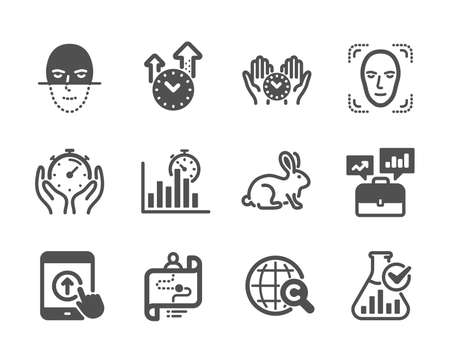 Set of Science icons, such as Face detection, Time management, Journey path, Animal tested, Swipe up, Chemistry lab, Face recognition, Business portfolio, Safe time, Report timer, Timer. Vector Çizim