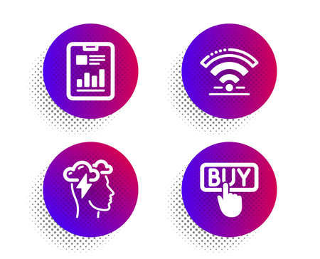 Mindfulness stress, Report document and Wifi icons simple set. Halftone dots button. Buying sign. Cloud storm, Page with charts, Wireless internet. E-commerce shopping. Technology set. Vector