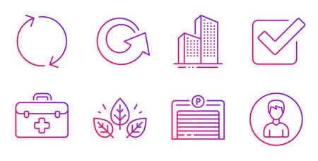 First aid, Checkbox and Organic tested line icons set. Skyscraper buildings, Parking garage and Reload signs. Refresh, Person symbols. Medicine kit, Approved tick. Business set. Vector Zdjęcie Seryjne - 134602573