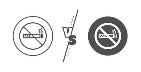 Stop smoke sign. Versus concept. No smoking line icon. Hotel service symbol. Line vs classic no smoking icon. Vector 向量圖像